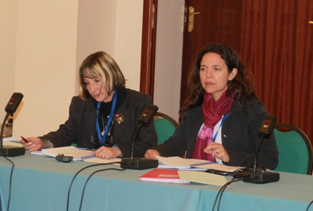 Лурдес Мачадо и Виктория Уранга во время заседания первой рабочей группы